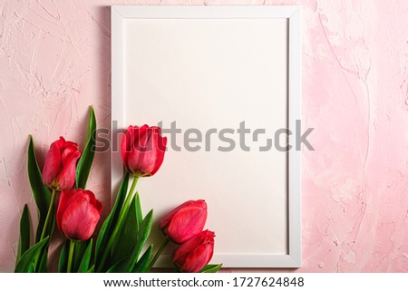 Bunch of red tulip flowers with picture frame template on textured pink background, top view copy space