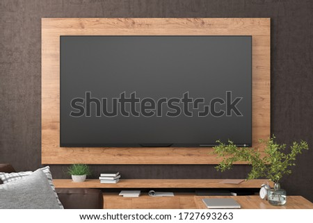 TV screen on the brown concrete wall  with wooden plate above the cabinet in modern living room with couch, armchair, coffee table, bookshelf, curtain. Clipping path around screen. 3d illustration