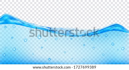Translucent water wave in light blue colors with air bubbles, isolated on transparent background. Transparency only in vector file