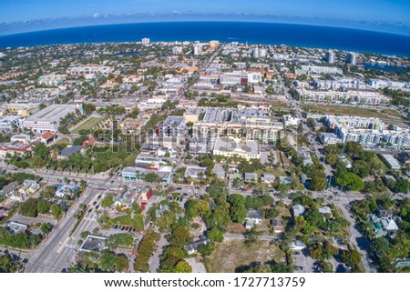Aerial view of Delray Beach, small city in Southern Florida #1727713759
