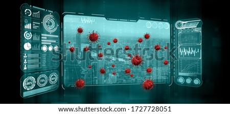 Covid 19 Big Data Map - Health care technology showing location of covid 19 risk using big data from local people to analyze risky area of covid spreading. Concept of medical big data analysis. #1727728051