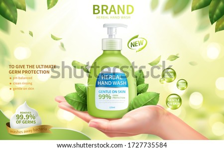 Ad template of fresh herbal hand wash, realistic female hand in open palm gesture with dispenser bottle, 3d illustration #1727735584