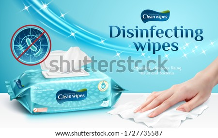 Ad template or package design for cleaning wipes, female hand using wet wipe to clean the table, 3d illustration #1727735587