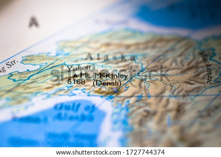Geographical map location of Denali McKinley in Alaska United States of America USA in America continent on atlas