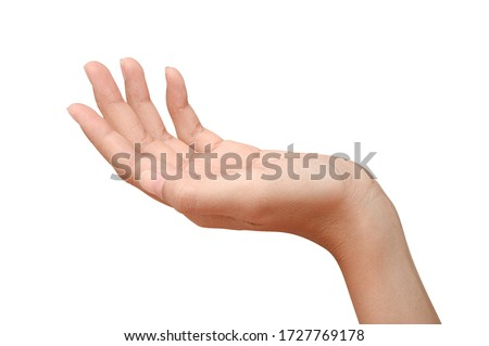 Hand open and ready to help or receive. Gesture isolated on white background with clipping path. Helping hand outstretched for salvation. #1727769178