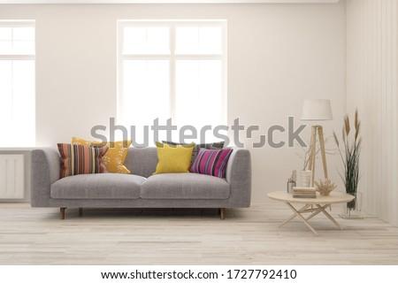 White living room with sofa. Scandinavian interior design. 3D illustration #1727792410
