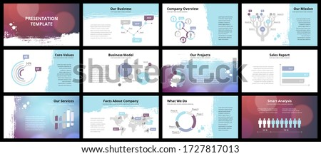 Business presentation templates. Vector infographic elements for company presentation slides, corporate annual report, marketing flyers, leaflets and brochures, banners and web design. #1727817013