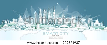 Technology wireless network communication smart city with architecture in Asia downtown skyscraper on blue background, Vector illustration futuristic green city and panorama view.  #1727826937