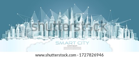 Technology wireless network communication smart city with architecture in middle east of Asia downtown skyscraper on blue background, Vector illustration futuristic green city and panorama view.  Royalty-Free Stock Photo #1727826946