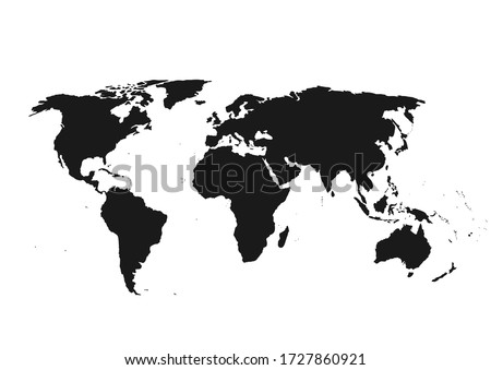 World map vector, isolated on white background. Flat Earth, map template for website pattern, annual report, infographics. Travel worldwide, map silhouette backdrop. #1727860921