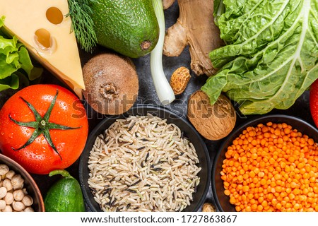 Nutrition and diet food picture with fruits, vegetables and seeds