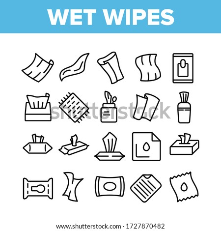 Wet Wipes Disinfectant Collection Icons Set Vector. Antibacterial Disinfect Packaging Wet Wipes And Towel Hygiene Accessory Concept Linear Pictograms. Monochrome Contour Illustrations #1727870482