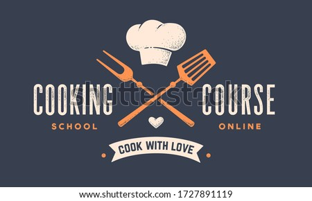 Food logo. Logo for Cooking school class with icon bbq tools, grill fork, spatula, hat chef, text typography Coocking Course. Graphic logo template for cooking cuisine course. Vector Illustration #1727891119