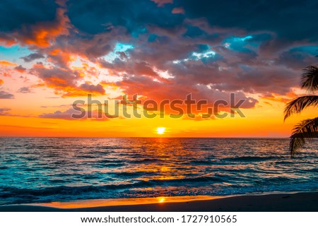 Beautiful sunset over the sea.sky on twilight time and reflection on the sea for travel in holiday relax time #1727910565