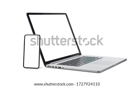 Laptop and smart phone with blank screen isolated on white background with clipping path. Royalty-Free Stock Photo #1727924110