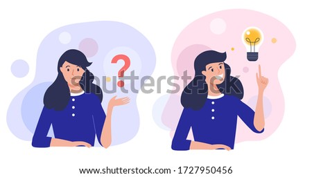 Woman thinking  - trying to find a solution with question mark and happy with light bulb creative idea. Concept vector illustration. Royalty-Free Stock Photo #1727950456