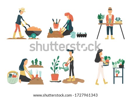 People gardening. Man and Woman planting gardens vegetables, agriculture gardener hobby plants at home and outdoor. Vector is drawn illustrations of plants in pots working.farm Flat vector icon set #1727961343