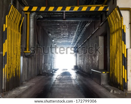 Industrial underpass with entrance gate #172799306