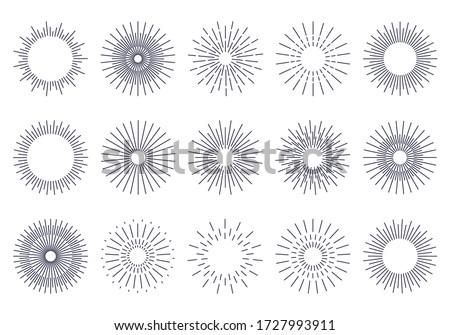 Bursting rays sunrise firework starburst burst for logotype, emblem, logo, tag, stamp, banner. Set of vintage hand drawn sunburst rays design elements, explosion black rays. Vector illustration. #1727993911