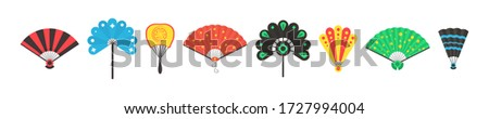 Chinese and Japanese opened and close hand fan in cartoon style. Colored hand traditional fan set isolated on white background. Vector illustration in flat style. EPS 10. #1727994004