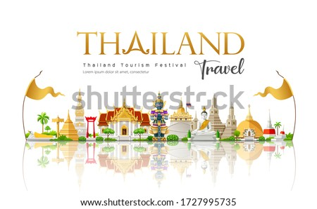 Welcome to The beautiful of Thailand travel building landmark, design background, vector illustration Royalty-Free Stock Photo #1727995735