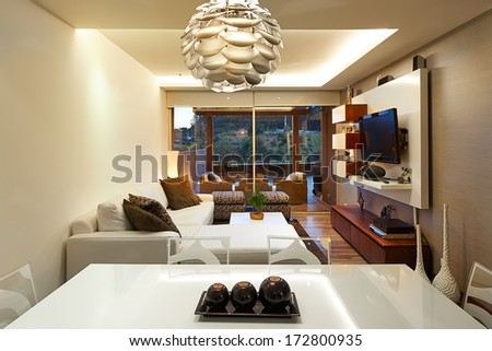 Interior design: Modern living room with big empty white wall #172800935