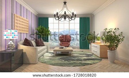 Interior of the living room. 3D illustration. #1728018820
