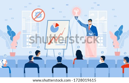 Business Seminar Strategy Idea. Businessman Speaker Doing Presentation at Podium on Stage. Professional Marketing Sales, E-Commerce Training Front of Audience. Motivation Conference. Covid Outbreak