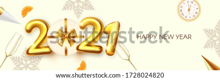 Happy New 2021 Year! Party poster template with 3D realistic text, champagne glasses and gift box. Festive header design. Christmas flyer template. #1728024820