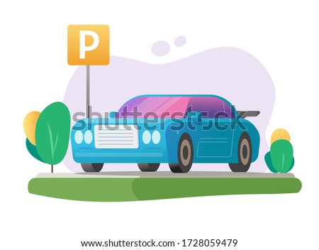Parked car or automobile parking lot and vehicle free park area lawn grass place with road sign illustration flat cartoon image