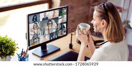 Back view photo of woman worker have webcam group conference with her coworkers on modern computer at home, female employee speak talk on video chat call with diverse colleagues online brief collage #1728065929