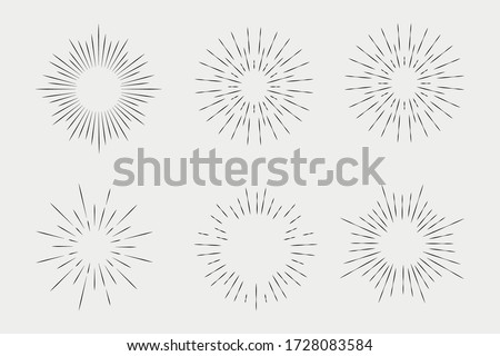 Set of sunbursts, explosion effects, vintage doodles isolated on white background EPS Vector #1728083584