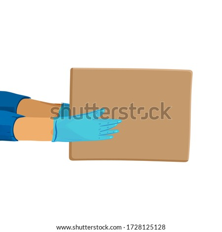 Safe delivery vector cartoon banner for Save Delivery Services and E-Commerce during covid quarantine. Hands in gloves giving a parcel. #1728125128