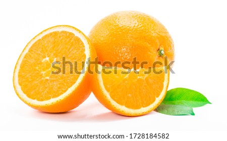 One orange fruit and half cut orange on white background  #1728184582