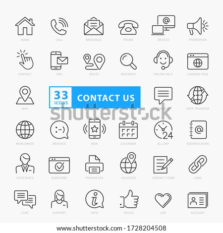 Contact us icon set, vector eps10 #1728204508