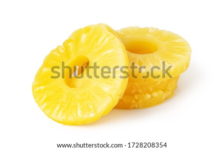 Pineapple slice isolated on white background. #1728208354