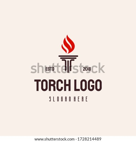 Torch Fire logo hipster retro vintage vector template