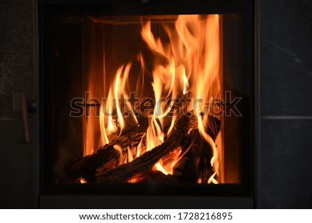 wood burning in a fireplace to warm the house