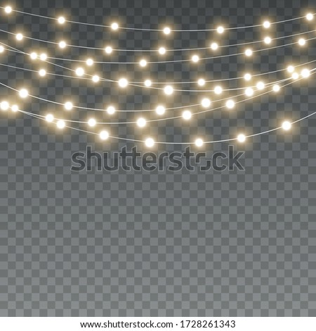 Vector Christmas lights, isolated on a transparent background. Christmas glowing garland. White translucent New Year decoration lights. Led neon lamp. Luminous lights for Christmas holidays #1728261343