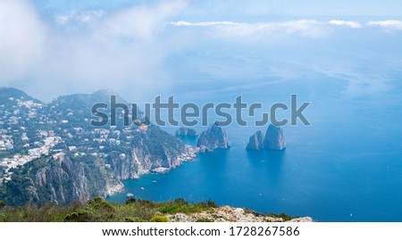 CAPRI, ITALY - April 23 2018: Stunning view from the peak at the north of the island at Capri, Italy. #1728267586