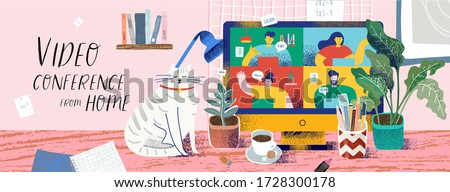 Video conference from home for online meetings and work. Vector illustration of a cozy desktop with a computer and a monitor with people, a cat, a plant, coffee and a stationery. Drawing for bunner #1728300178