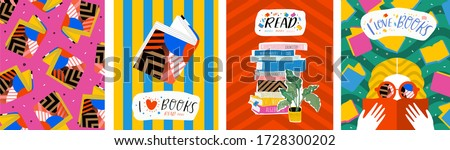 I love books. Vector illustration of abstract pop art posters with books, reading people and pattern. Graphic for background, banner or cover.   Royalty-Free Stock Photo #1728300202