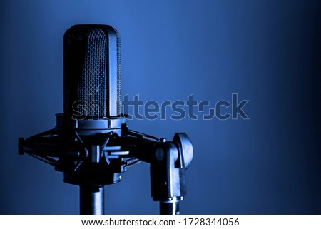 Microphone close up, professional audio recording background, podcast or music backdrop