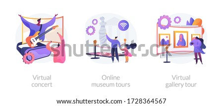 Quarantine leasure time abstract concept vector illustration set. Virtual concert, online museum tours, virtual gallery exhibition tour, art therapy, social distance, stay home abstract metaphor. Royalty-Free Stock Photo #1728364567