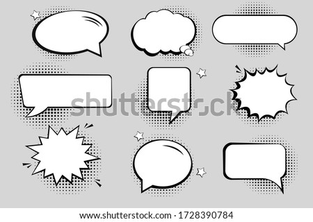 Retro empty comic bubbles and elements set with black halftone shadows.  #1728390784