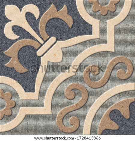 Floral Vector Patterned Tiles Decor, Parking Floor Tiles Design, Jute Texture