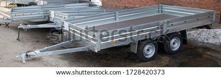 Open car trailer. Trailer for passenger cars.Sale, rental and maintenance of trailers. #1728420373