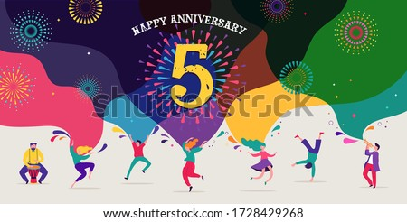 Anniversary celebration. Happy people dancing, playing music, celebrating. Vector illustration, banner, poster Royalty-Free Stock Photo #1728429268