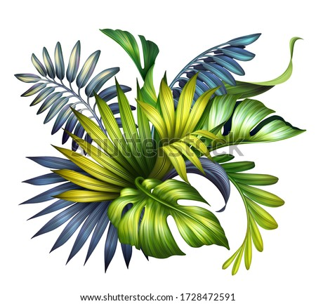 digital botanical illustration, wild jungle foliage arrangement, tropical palm leaves, colorful bouquet, floral design isolated on white background