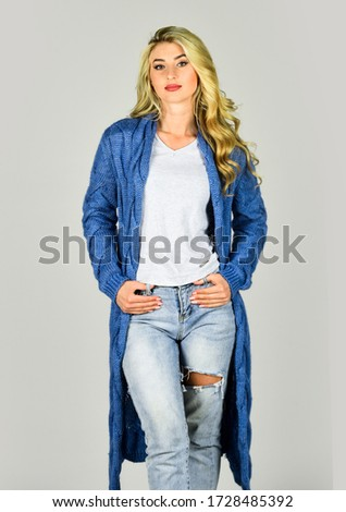 Warm and comfortable. Clothes shop. Oversize cardigan for your comfort. Fashionable cardigan. Girl stylish outfit with soft wool cashmere cardigan. Woman wear long knitted cardigan. Cozy outfit. #1728485392